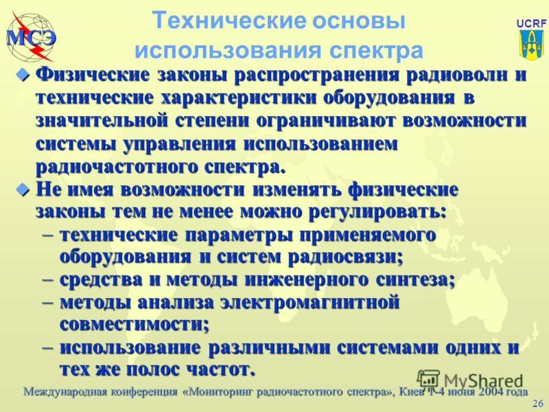 Международная конференция «Мониторинг радиочастотного спектра», Киев 1-4 июня 2004 года МСЭ UCRF 25 Базовые материалы МСЭ-Р по контролю за использованием спектра u Резолюция Ассамблеи радиосвязи ITU-R 23-1 Extension of the International Monitoring Sy