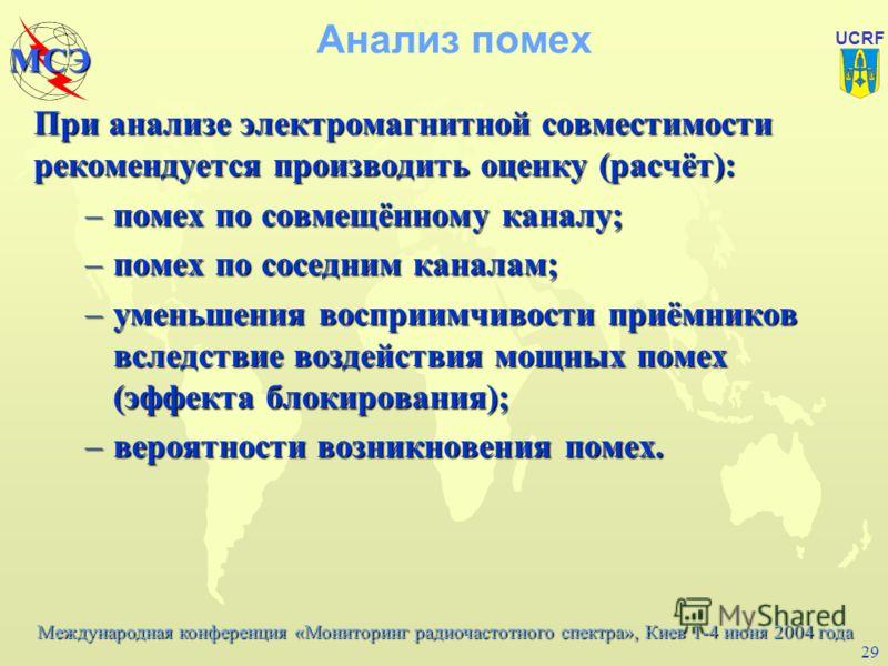 Международная конференция «Мониторинг радиочастотного спектра», Киев 1-4 июня 2004 года МСЭ UCRF 28 Средства и методы инженерного синтеза В методических материалах МСЭ для оценки возможности реализации нового частотного присвоения (системы радиосвязи