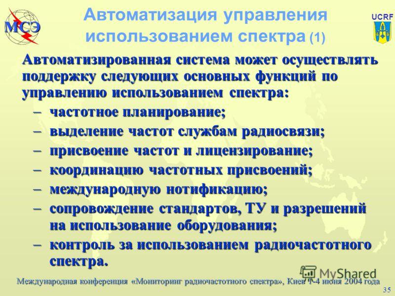 Международная конференция «Мониторинг радиочастотного спектра», Киев 1-4 июня 2004 года МСЭ UCRF 34 Материалы МСЭ-Р по экономическим методам u Report ITU-R SM.2012-1, Economic aspects of spectrum management (Экономические аспекты управления использов