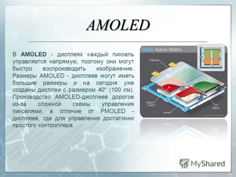 AMOLED В AMOLED - дисплеях каждый пиксель управляется напрямую, поэтому они могут быстро воспроизводить изображение. Размеры AMOLED - дисплеев могут иметь большие размеры и на сегодня уже созданы дисплеи с размером 40