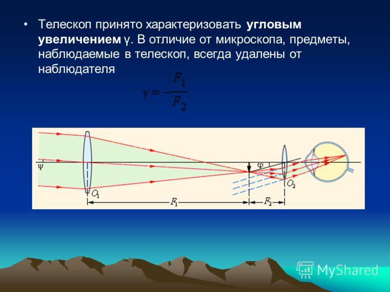 Tелескоп принято характеризовать угловым увеличением γ. В отличие от микроскопа, предметы, наблюдаемые в телескоп, всегда удалены от наблюдателя