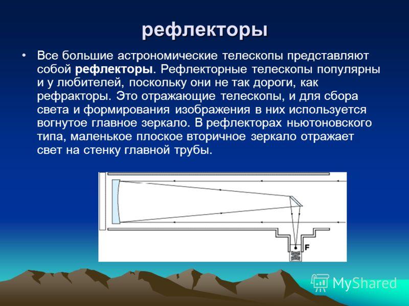 рефлекторы Все большие астрономические телескопы представляют собой рефлекторы. Рефлекторные телескопы популярны и у любителей, поскольку они не так дороги, как рефракторы. Это отражающие телескопы, и для сбора света и формирования изображения в них