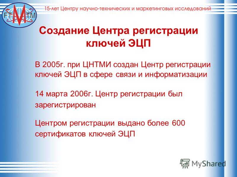 Создание Центра регистрации ключей ЭЦП В 2005г. при ЦНТМИ создан Центр регистрации ключей ЭЦП в сфере связи и информатизации 14 марта 2006г. Центр регистрации был зарегистрирован Центром регистрации выдано более 600 сертификатов ключей ЭЦП