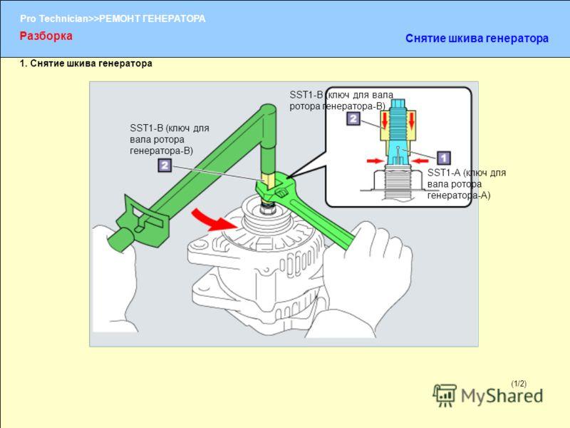 (1/2) Pro Technician>>РЕМОНТ ГЕНЕРАТОРА 1. Снятие шкива генератора (1/2) Разборка Снятие шкива генератора SST1-A (ключ для вала ротора генератора-A) SST1-В (ключ для вала ротора генератора-В)