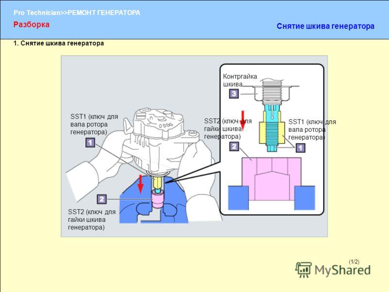 (1/2) Pro Technician>>РЕМОНТ ГЕНЕРАТОРА 1. Снятие шкива генератора (1/2) Разборка Снятие шкива генератора SST1 (ключ для вала ротора генератора) SST2 (ключ для гайки шкива генератора) Контргайка шкива SST1 (ключ для вала ротора генератора) SST2 (ключ