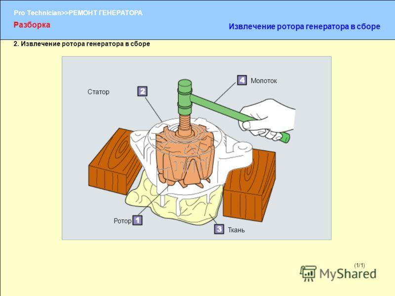 (1/2) Pro Technician>>РЕМОНТ ГЕНЕРАТОРА (1/1) 2. Извлечение ротора генератора в сборе Ротор Ткань Молоток Статор Разборка Извлечение ротора генератора в сборе