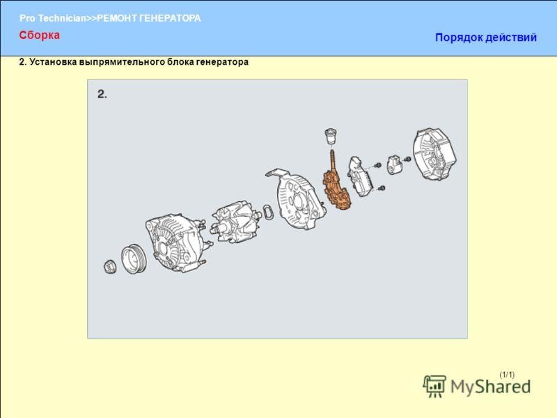 (1/2) Pro Technician>>РЕМОНТ ГЕНЕРАТОРА (1/1) 2. Установка выпрямительного блока генератора Сборка Порядок действий