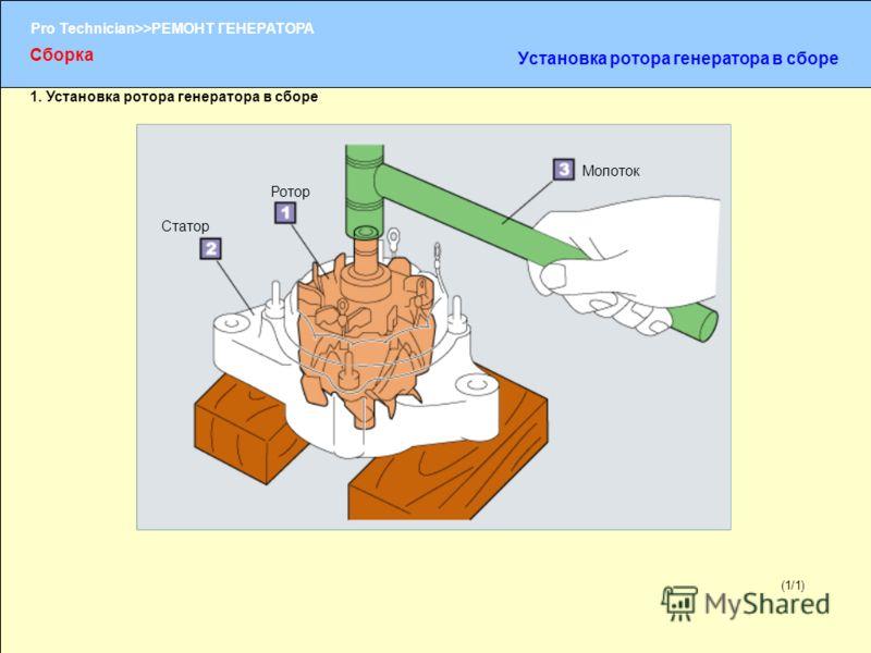 (1/2) Pro Technician>>РЕМОНТ ГЕНЕРАТОРА (1/1) 1. Установка ротора генератора в сборе Ротор Статор Молоток Сборка Установка ротора генератора в сборе