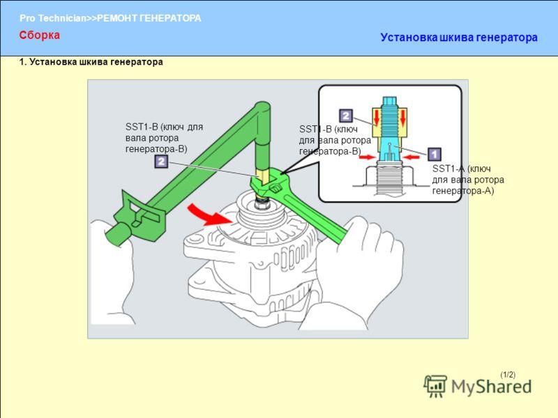 (1/2) Pro Technician>>РЕМОНТ ГЕНЕРАТОРА (1/2) 1. Установка шкива генератора Сборка Установка шкива генератора SST1-A (ключ для вала ротора генератора-A) SST1-В (ключ для вала ротора генератора-В)