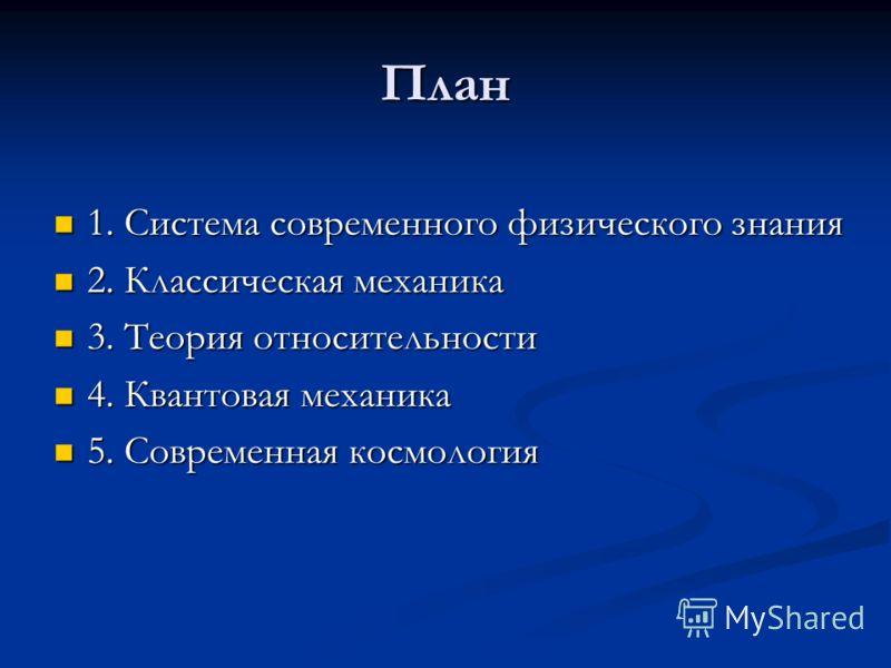 План 1. Система современного физического знания 1. Система современного физического знания 2. Классическая механика 2. Классическая механика 3. Теория относительности 3. Теория относительности 4. Квантовая механика 4. Квантовая механика 5. Современна