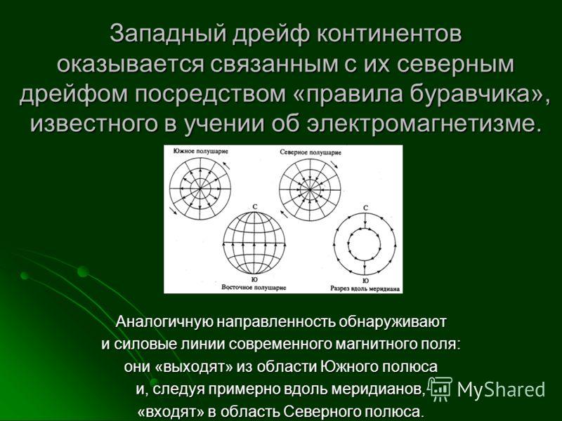 Западный дрейф континентов оказывается связанным с их северным дрейфом посредством «правила буравчика», известного в учении об электромагнетизме. Аналогичную направленность обнаруживают и силовые линии современного магнитного поля: они «выходят» из о