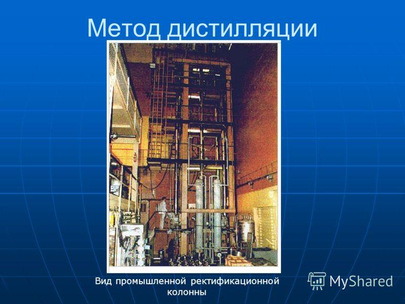 Метод дистилляции Вид промышленной ректификационной колонны