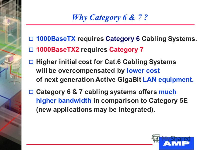 Why Category 6 & 7 ? o 1000BaseTX requires Category 6 Cabling Systems. o 1000BaseTX2 requires Category 7 o Higher initial cost for Cat.6 Cabling Systems will be overcompensated by lower cost of next generation Active GigaBit LAN equipment. o Category