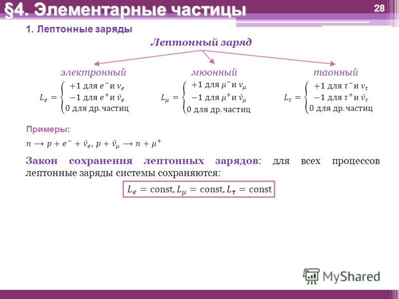 28 1. Лептонные заряды Лептонный заряд электронныймюонныйтаонный Примеры: §4. Элементарные частицы Закон сохранения лептонных зарядов: для всех процессов лептонные заряды системы сохраняются: