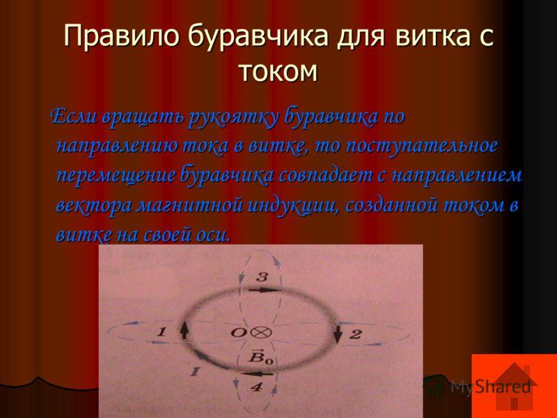 Правило буравчика для витка с током Если вращать рукоятку буравчика по направлению тока в витке, то поступательное перемещение буравчика совпадает с направлением вектора магнитной индукции, созданной током в витке на своей оси. Если вращать рукоятку