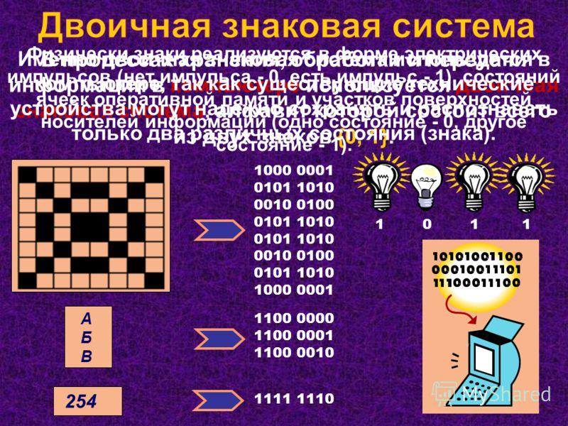 В процессах хранения, обработки и передачи информации в компьютере используется двоичная знаковая система, алфавит которой состоит всего из двух знаков {0, 1}. 1000 0001 0101 1010 0010 0100 0101 1010 0010 0100 0101 1010 1000 0001 1100 0000 1100 0001