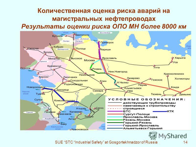 SUE STC Industrial Safety at Gosgortekhnadzor of Russia14 Количественная оценка риска аварий на магистральных нефтепроводах Результаты оценки риска ОПО МН более 8000 км