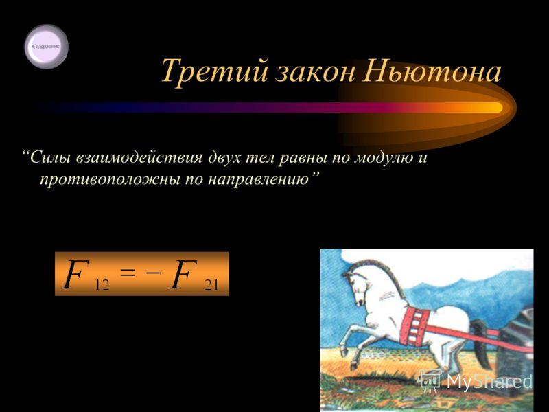 Третий закон Ньютона Силы взаимодействия двух тел равны по модулю и противоположны по направлению