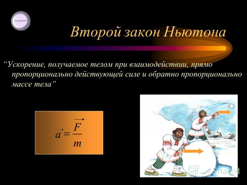Второй закон Ньютона Ускорение, получаемое телом при взаимодействии, прямо пропорционально действующей силе и обратно пропорционально массе тела m F a