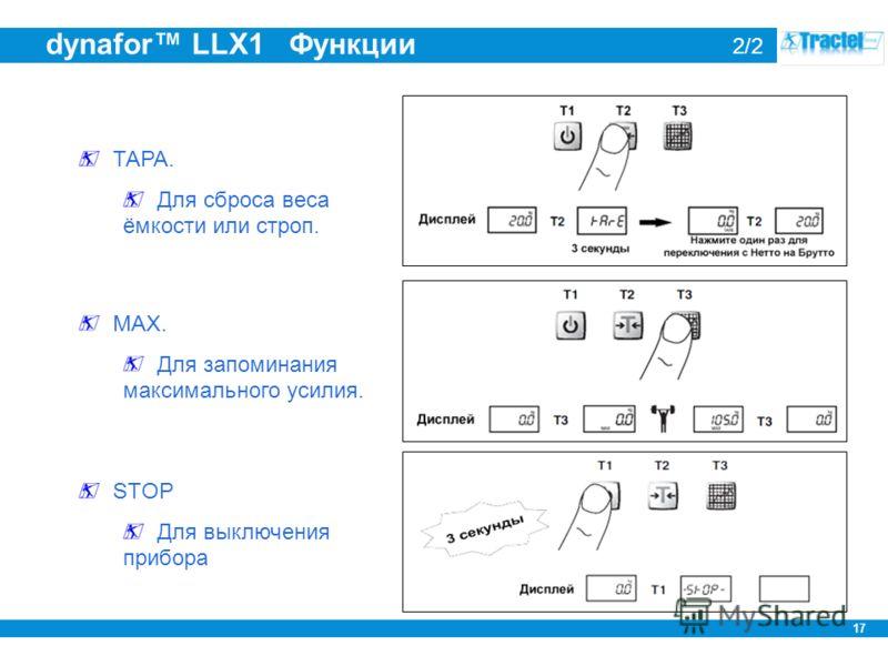 17 dynafor LLX1 Функции 2/2 ТАРА. Для сброса веса ёмкости или строп. MAX. Для запоминания максимального усилия. STOP Для выключения прибора