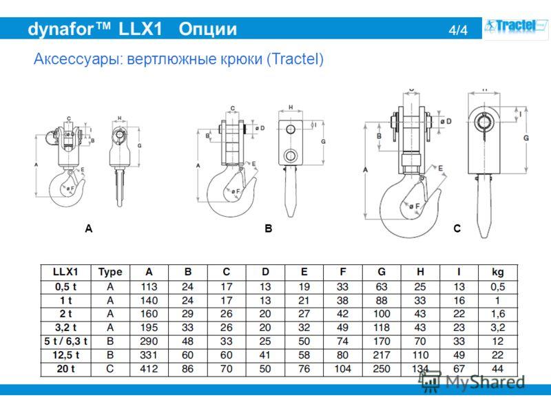 dynafor LLX1 Опции 4/4 Аксессуары: вертлюжные крюки (Tractel) ABC