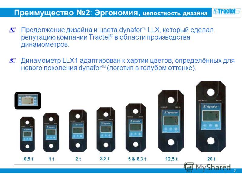7 Преимущество 2: Эргономия, целостность дизайна Продолжение дизайна и цвета dynafor TM LLX, который сделал репутацию компании Tractel ® в области производства динамометров. Динамометр LLX1 адаптирован к хартии цветов, определённых для нового поколен
