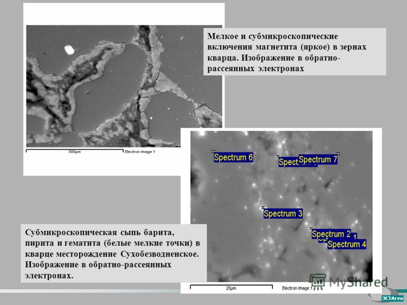 Мелкое и субмикроскопические включения магнетита (яркое) в зернах кварца. Изображение в обратно- рассеянных электронах Субмикроскопическая сыпь барита, пирита и гематита (белые мелкие точки) в кварце месторождение Сухобезводненское. Изображение в обр