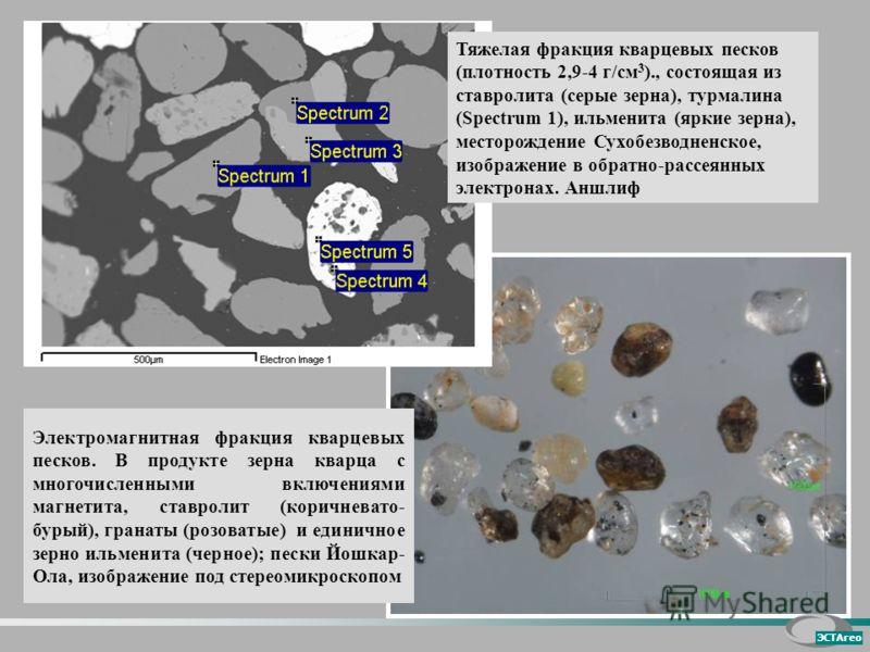 Электромагнитная фракция кварцевых песков. В продукте зерна кварца с многочисленными включениями магнетита, ставролит (коричневато- бурый), гранаты (розоватые) и единичное зерно ильменита (черное); пески Йошкар- Ола, изображение под стереомикроскопом