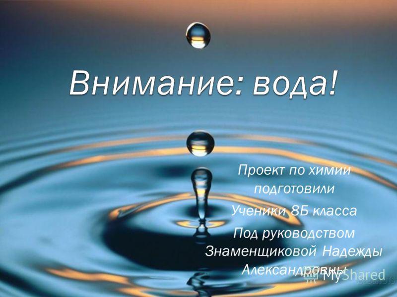 Проект по химии подготовили Ученики 8Б класса Под руководством Знаменщиковой Надежды Александровны