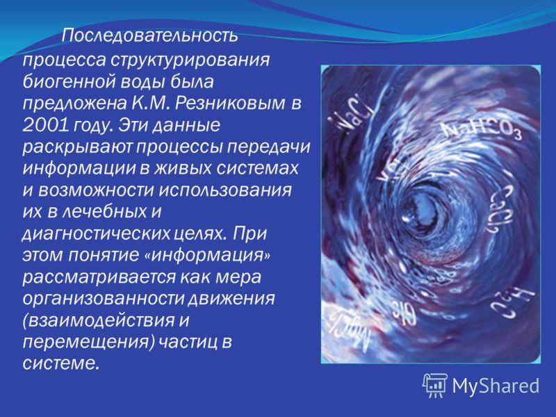 Последовательность процесса структурирования биогенной воды была предложена К.М. Резниковым в 2001 году. Эти данные раскрывают процессы передачи информации в живых системах и возможности использования их в лечебных и диагностических целях. При этом п