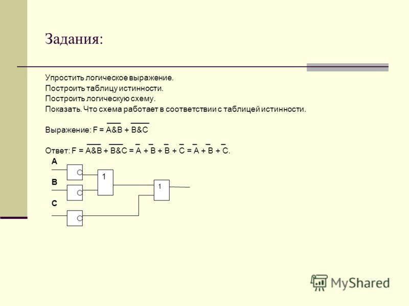 Задания: Упростить логическое выражение. Построить таблицу истинности. Построить логическую схему. Показать. Что схема работает в соответствии с таблицей истинности. ___ ____ Выражение: F = A&B + B&C ___ ___ _ _ _ _ _ _ _ Ответ: F = A&B + B&C = A + B