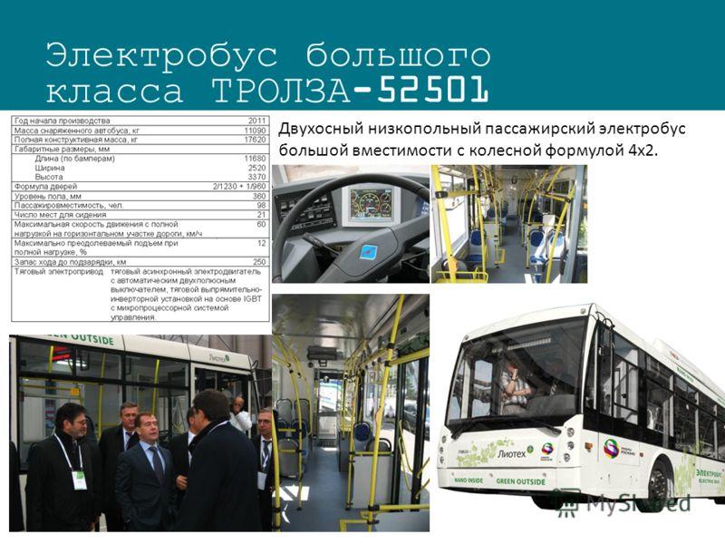 Электробус большого класса ТРОЛЗА-52501 Двухосный низкопольный пассажирский электробус большой вместимости с колесной формулой 4х2.