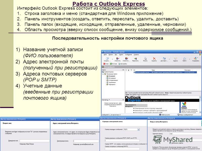 Работа с Outlook Express Интерфейс Outlook Express состоит из следующих элементов: 1.Строка заголовка и меню (стандартная для Windows приложение) 2.Панель инструментов (создать, ответить, переслать, удалить, доставить) 3.Панель папок (входящие, исход