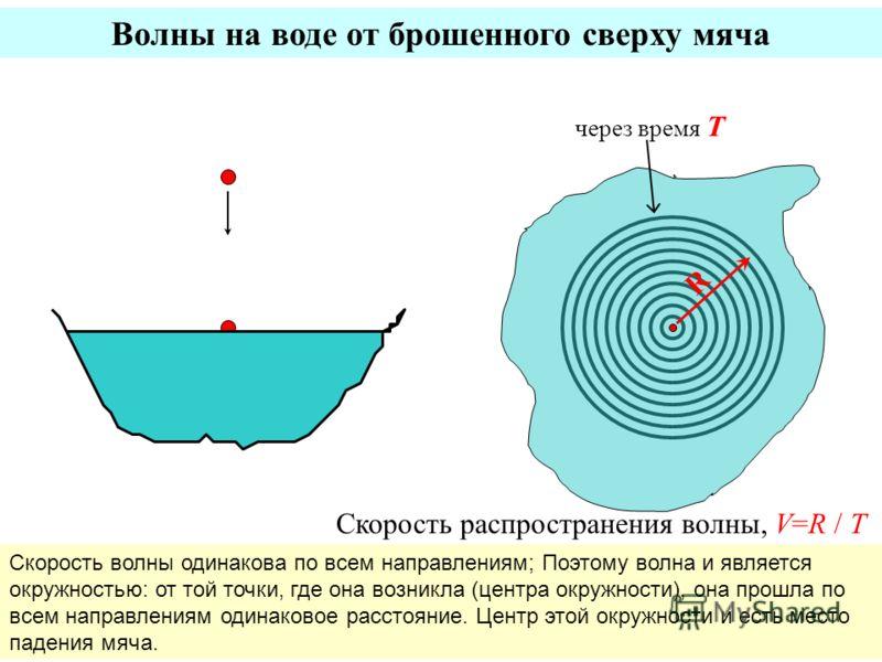 Волны на воде от брошенного сверху мяча R через время T Скорость распространения волны, V=R / T Скорость волны одинакова по всем направлениям; Поэтому волна и является окружностью: от той точки, где она возникла (центра окружности), она прошла по все