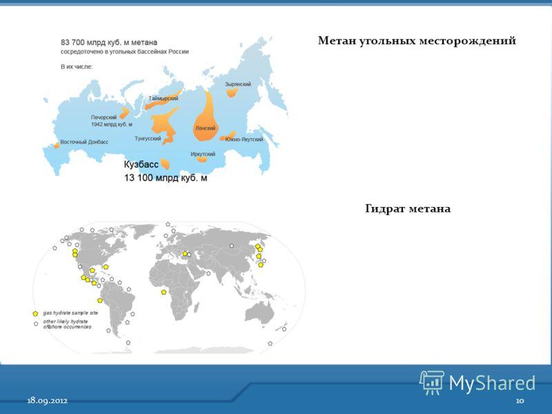 18.09.201210 Метан угольных месторождений Гидрат метана