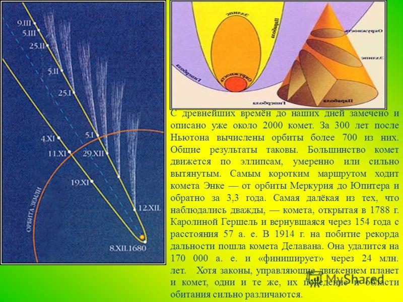 С древнейших времён до наших дней замечено и описано уже около 2000 комет. За 300 лет после Ньютона вычислены орбиты более 700 из них. Общие результаты таковы. Большинство комет движется по эллипсам, умеренно или сильно вытянутым. Самым коротким марш