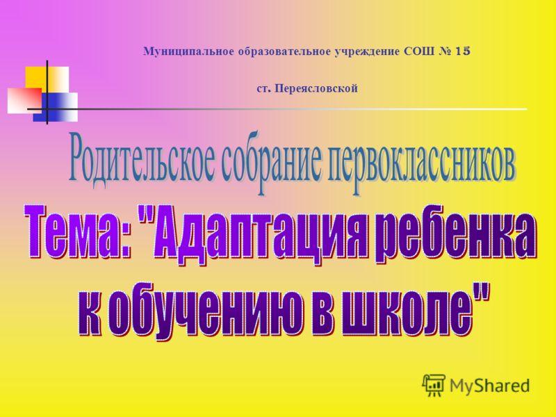 Муниципальное образовательное учреждение СОШ 15 ст. Переясловской