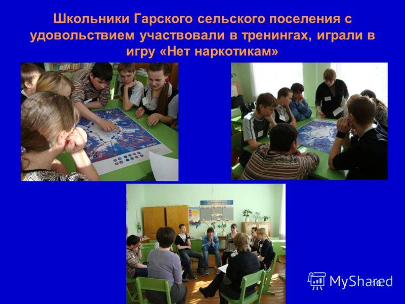Школьники Гарского сельского поселения с удовольствием участвовали в тренингах, играли в игру «Нет наркотикам» 10