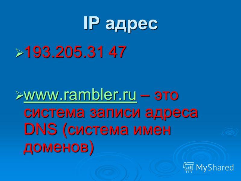 IP адрес 193.205.31 47 193.205.31 47 www.rambler.ru – это система записи адреса DNS (система имен доменов) www.rambler.ru – это система записи адреса DNS (система имен доменов) www.rambler.ru