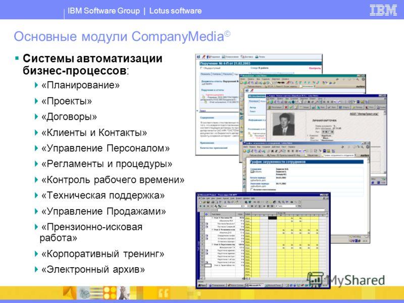 IBM Software Group | Lotus software Основные модули CompanyMedia Системы автоматизации бизнес-процессов: «Планирование» «Проекты» «Договоры» «Клиенты и Контакты» «Управление Персоналом» «Регламенты и процедуры» «Контроль рабочего времени» «Техническа