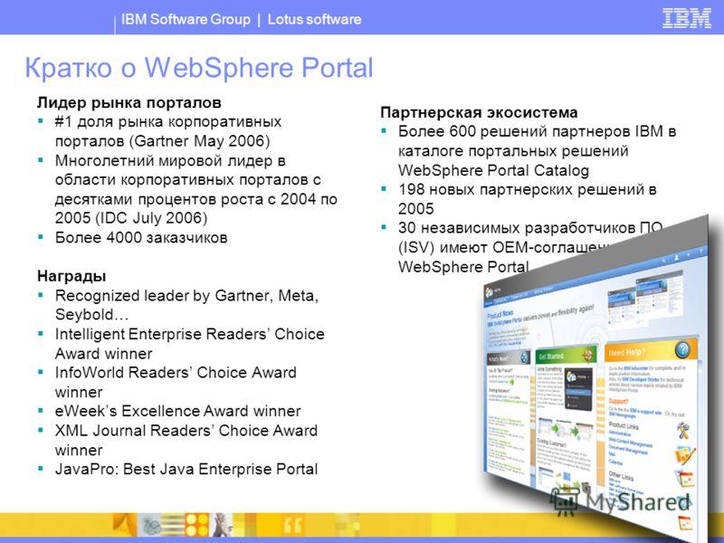 IBM Software Group | Lotus software Кратко о WebSphere Portal Лидер рынка порталов #1 доля рынка корпоративных порталов (Gartner May 2006) Многолетний мировой лидер в области корпоративных порталов с десятками процентов роста с 2004 по 2005 (IDC July