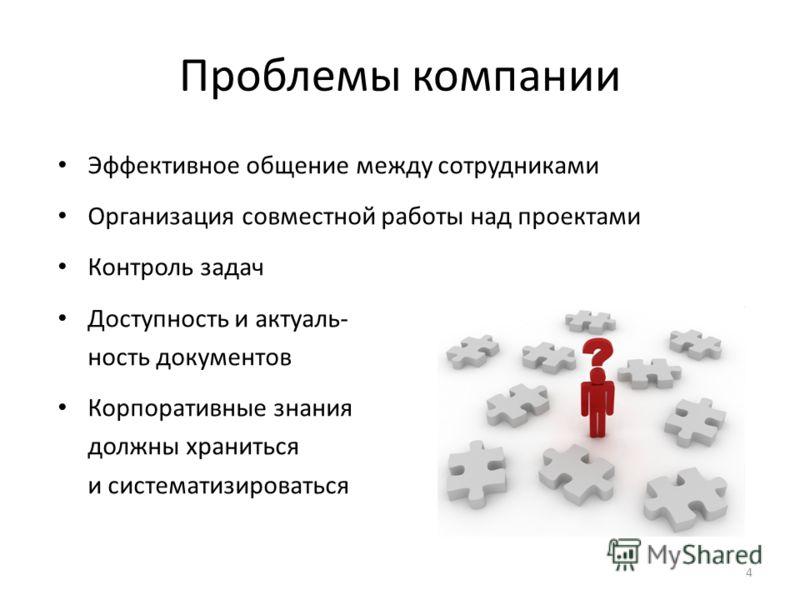 4 Проблемы компании Эффективное общение между сотрудниками Организация совместной работы над проектами Контроль задач Доступность и актуаль- ность документов Корпоративные знания должны храниться и систематизироваться