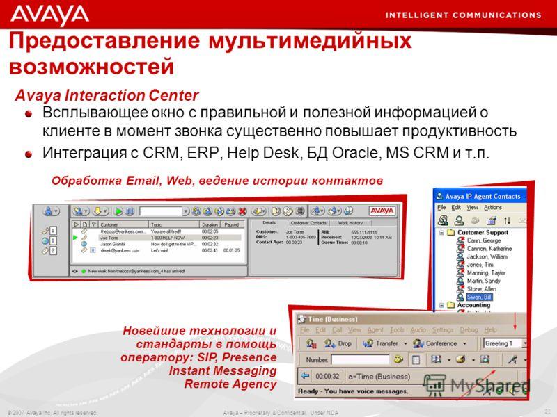 20 © 2007 Avaya Inc. All rights reserved. Avaya – Proprietary & Confidential. Under NDA Всплывающее окно с правильной и полезной информацией о клиенте в момент звонка существенно повышает продуктивность Интеграция с CRM, ERP, Help Desk, БД Oracle, MS