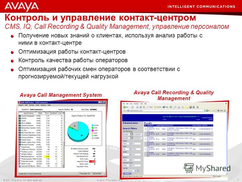 26 © 2007 Avaya Inc. All rights reserved. Avaya – Proprietary & Confidential. Under NDA Контроль и управление контакт-центром CMS, IQ, Call Recording & Quality Management, управление персоналом Получение новых знаний о клиентах, используя анализ рабо