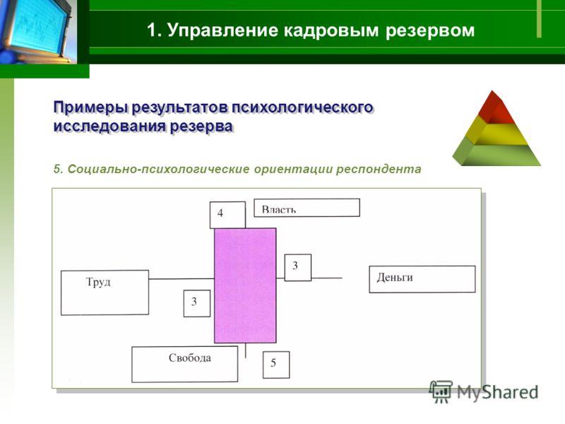 1. Управление кадровым резервом Примеры результатов психологического исследования резерва 5. Социально-психологические ориентации респондента