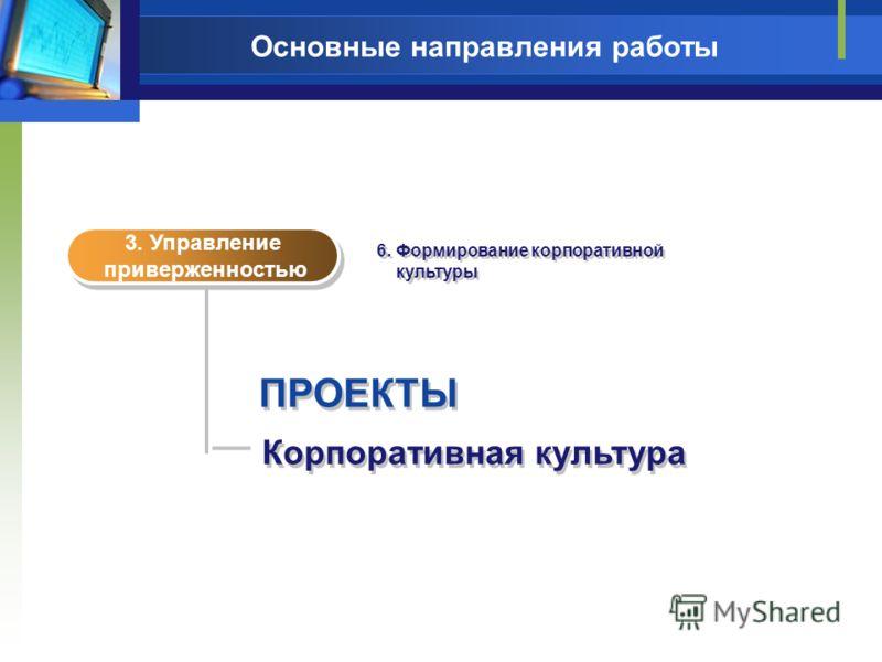 Основные направления работы ПРОЕКТЫ Корпоративная культура 3. Управление приверженностью 3. Управление приверженностью 6. Формирование корпоративной культуры