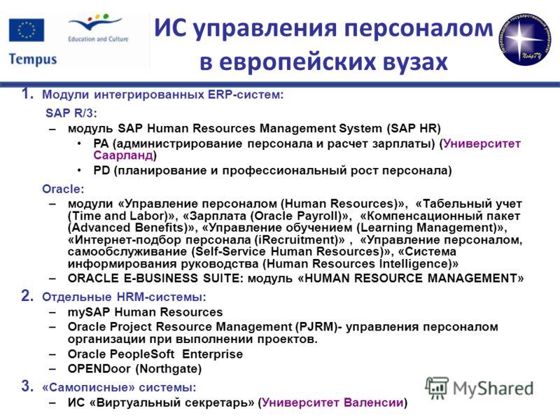 ИС управления персоналом в европейских вузах 1. Модули интегрированных ERP-систем: SAP R/3: – модуль SAP Human Resources Management System (SAP HR) PA (администрирование персонала и расчет зарплаты) (Университет Саарланд) PD (планирование и профессио