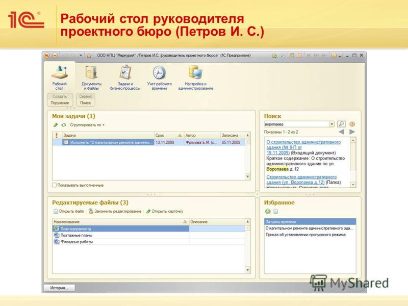 Рабочий стол руководителя проектного бюро (Петров И. С.)