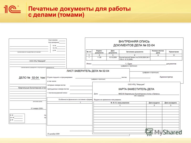 Печатные документы для работы с делами (томами)