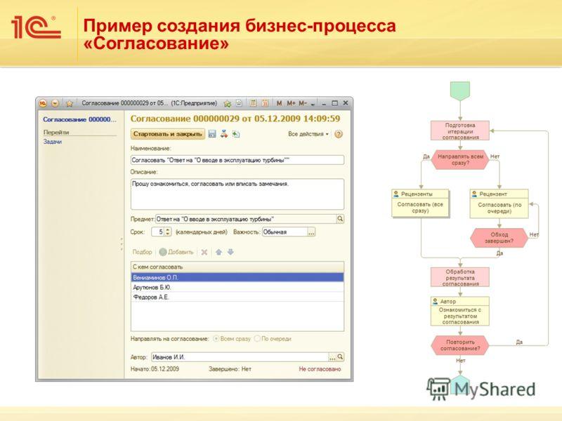 Пример создания бизнес-процесса «Согласование»